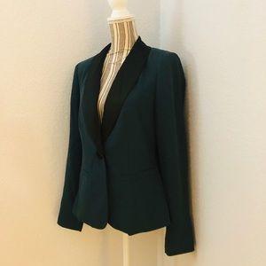 Emerald blazer w/ black lapel & single button